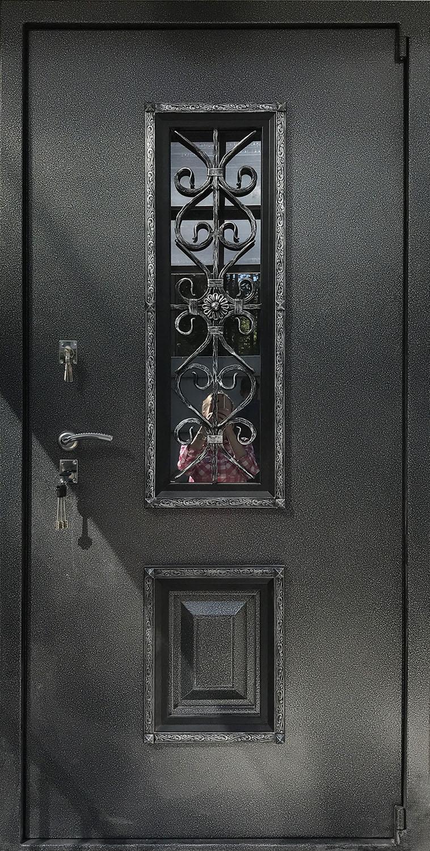 Металлическая дверь уличная со стеклопакетом, ковкой и петлям «БАРК» Э8П8